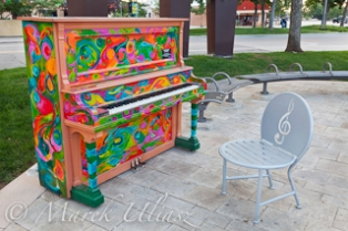 one of pianos painted within Pianos About Town program, artist - Diane Findley, old town of Fort Collins, Colorado
